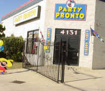The front of Party Pronto's physical location offering waterslide rentals and jumper rentals in Arcadia, CA