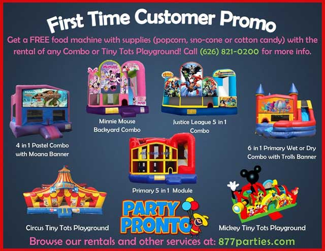 Get a FREE food machine with supplies (popcorn, sno-cone or cotton candy) with the rental of any Combo or Tiny Tots playground!!