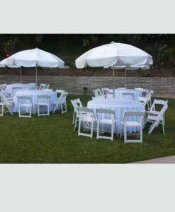 60-Inch Round Tables w/ Umbrellas