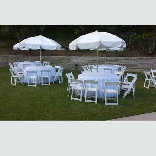 60-Inch Round Tables w/ Umbrellas